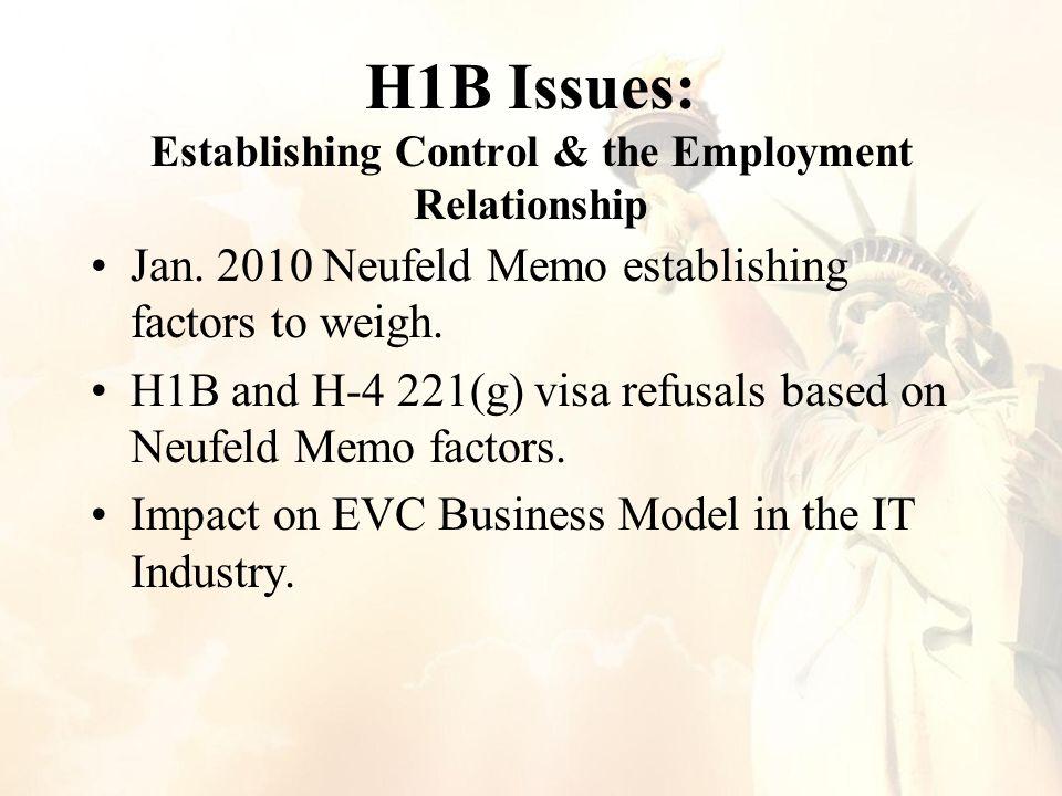 H1B Issues: Establishing Control & the Employment Relationship Jan.