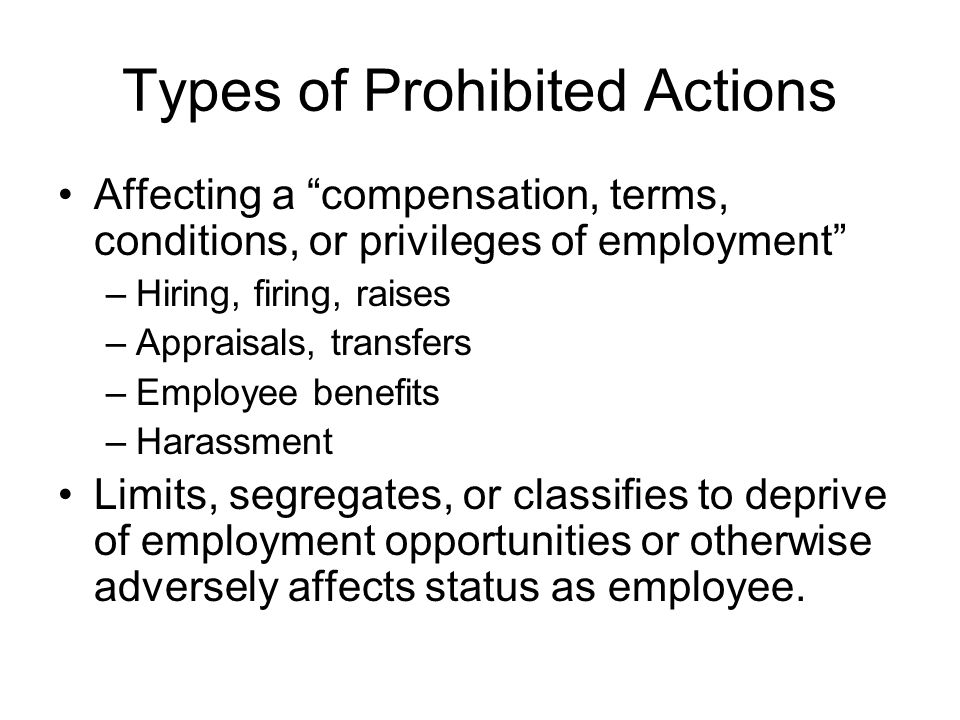 Types of Prohibited Activities Advertisements It is unlawful to advertise a preference for younger applicants or employees, unless an exception to the ADEA applies Employers may advertise a preference for older workers.