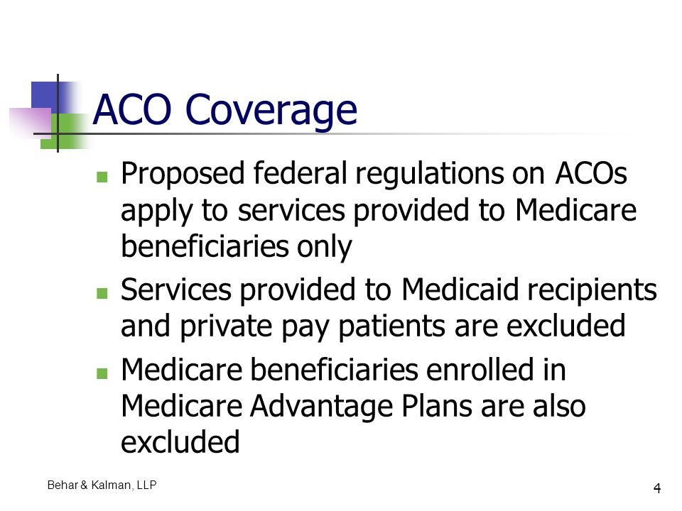 5 Purpose of ACOs Purpose of ACOs is to create incentives for providers to collaborate to treat patients across health care settings Payment will be made on a fee for service basis Health care providers and suppliers including skilled nursing facilities (SNFs) will be able to participate in shared savings under the Medicare Shared Savings Program CMS' median estimate of the financial impact of the Medicare Shared Savings Program for calendar years 2012 through 2014 is a net savings of $510 million PricewaterhouseCoopers' analysis: CMS' savings estimates are off due to high start-up costs What about cost of implementing electronic records for providers which are not entitled to incentive payments.
