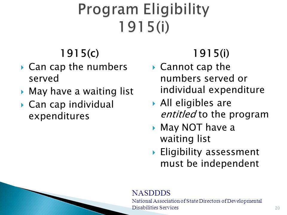 1915(c)  Can cap the numbers served  May have a waiting list  Can cap individual expenditures 1915(i)  Cannot cap the numbers served or individual expenditure  All eligibles are entitled to the program  May NOT have a waiting list  Eligibility assessment must be independent 20 NASDDDS National Association of State Directors of Developmental Disabilities Services