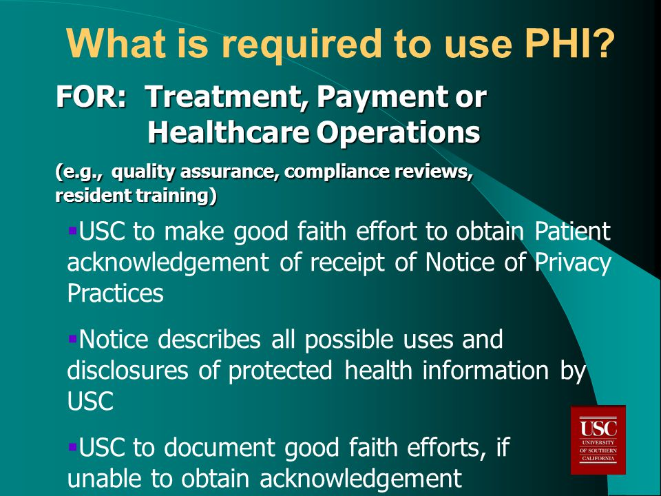 What is required to use PHI.