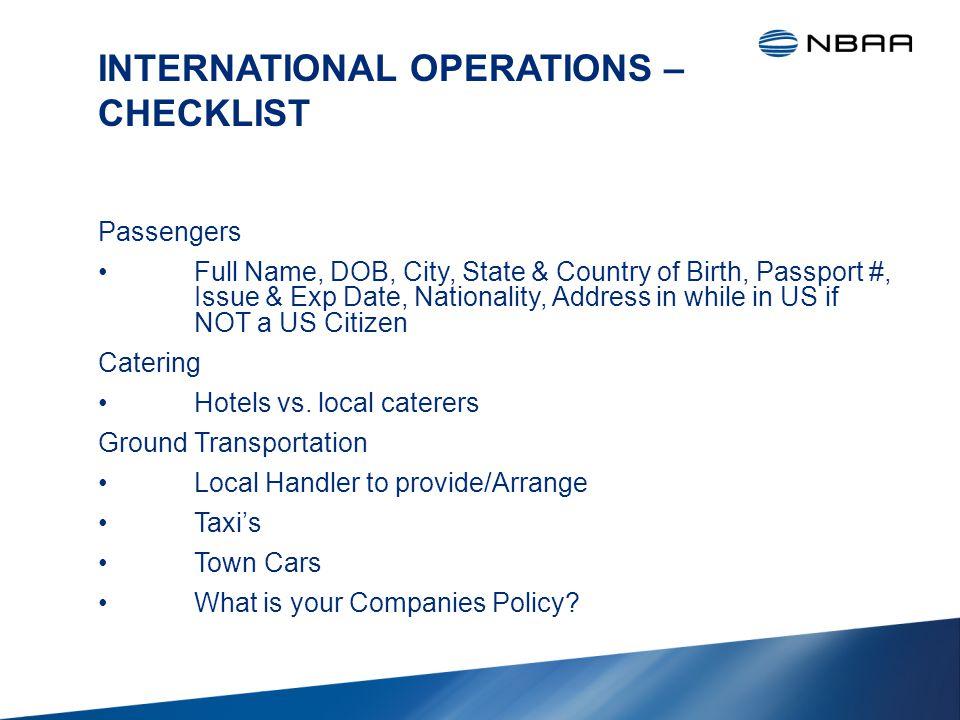 INTERNATIONAL OPERATIONS – CHECKLIST TSA -Customs Handler or In House.
