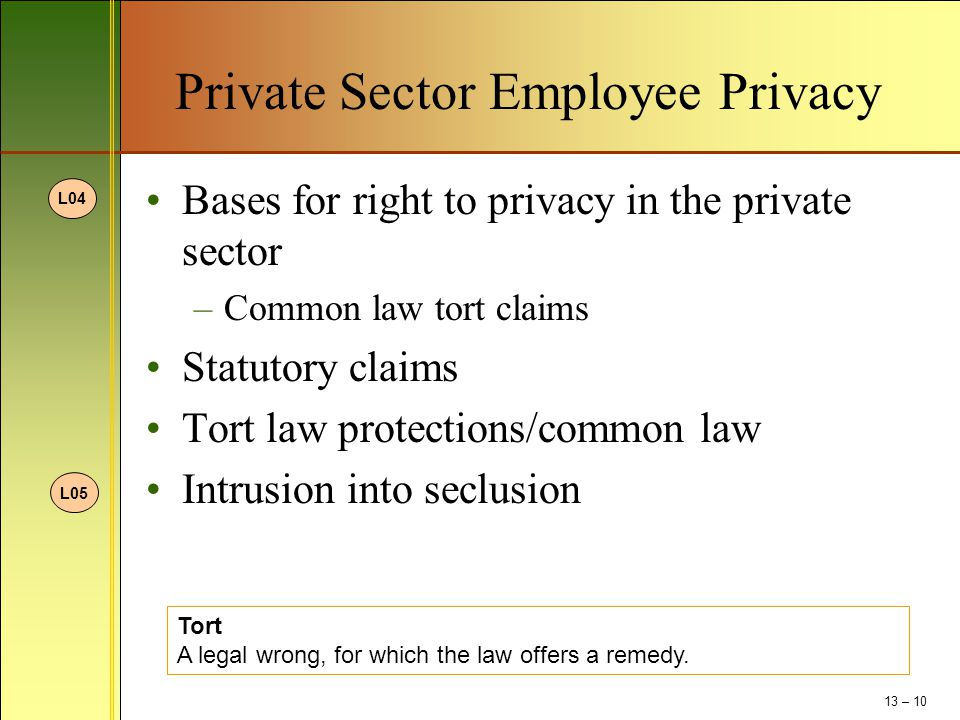 Private Sector Employee Privacy Bases for right to privacy in the private sector –Common law tort claims Statutory claims Tort law protections/common law Intrusion into seclusion Tort A legal wrong, for which the law offers a remedy.