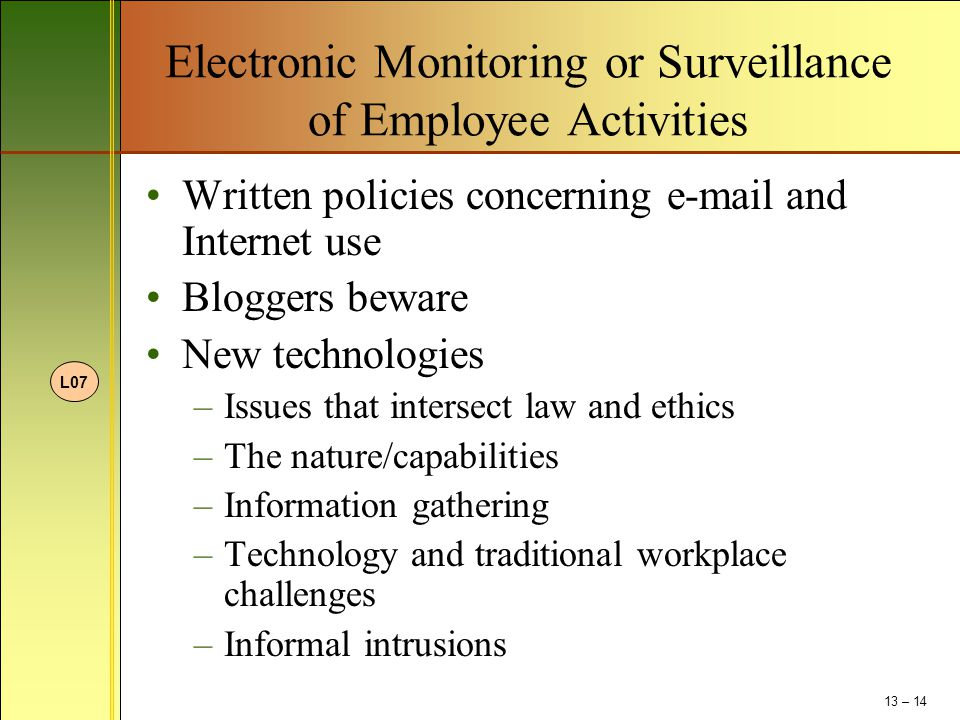 Electronic Monitoring or Surveillance of Employee Activities Written policies concerning e-mail and Internet use Bloggers beware New technologies –Iss