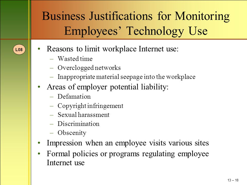 Business Justifications for Monitoring Employees' Technology Use Reasons to limit workplace Internet use: –Wasted time –Overclogged networks –Inapprop