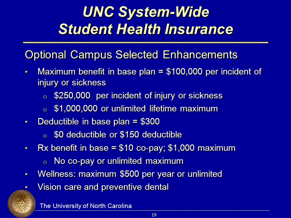The University of North Carolina 19 UNC System-Wide Student Health Insurance Optional Campus Selected Enhancements Maximum benefit in base plan = $100,000 per incident of injury or sickness o $250,000 per incident of injury or sickness o $1,000,000 or unlimited lifetime maximum Deductible in base plan = $300 o $0 deductible or $150 deductible Rx benefit in base = $10 co-pay; $1,000 maximum o No co-pay or unlimited maximum Wellness: maximum $500 per year or unlimited Vision care and preventive dental Optional Campus Selected Enhancements Maximum benefit in base plan = $100,000 per incident of injury or sickness o $250,000 per incident of injury or sickness o $1,000,000 or unlimited lifetime maximum Deductible in base plan = $300 o $0 deductible or $150 deductible Rx benefit in base = $10 co-pay; $1,000 maximum o No co-pay or unlimited maximum Wellness: maximum $500 per year or unlimited Vision care and preventive dental