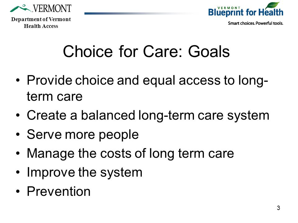 Department of Vermont Health Access Choice for Care: Goals Provide choice and equal access to long- term care Create a balanced long-term care system