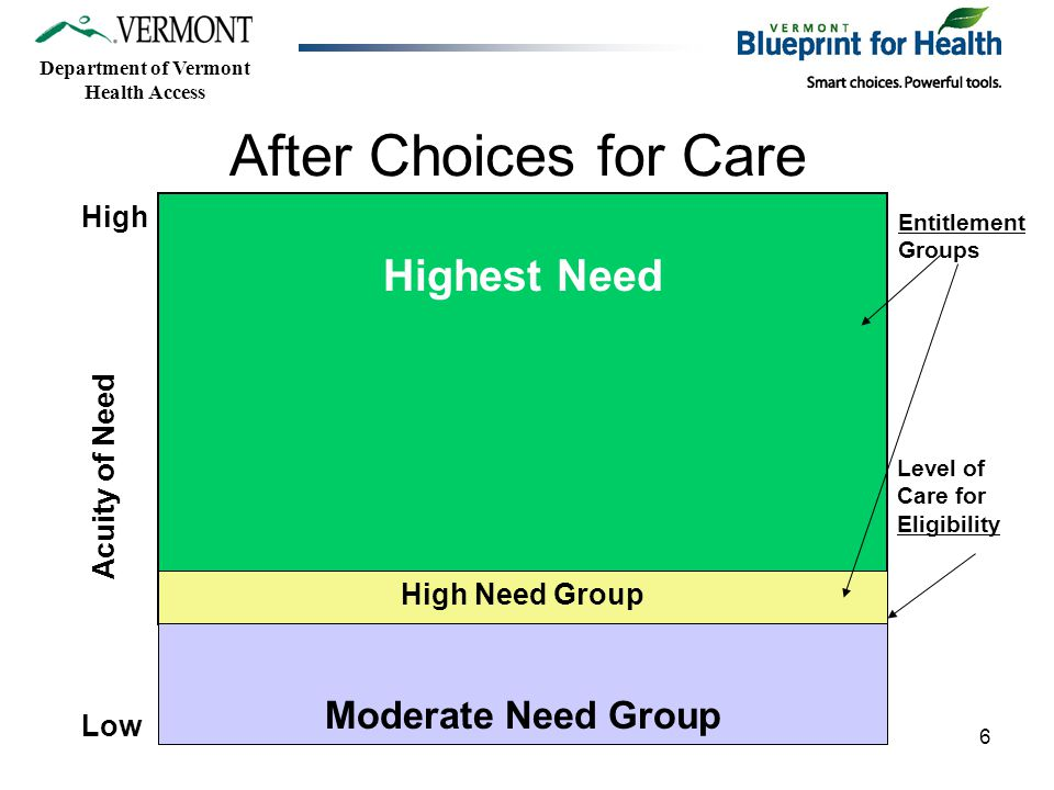 Department of Vermont Health Access 6 Highest Need Moderate Need Group High Low Acuity of Need Level of Care for Eligibility Entitlement Groups High Need Group After Choices for Care