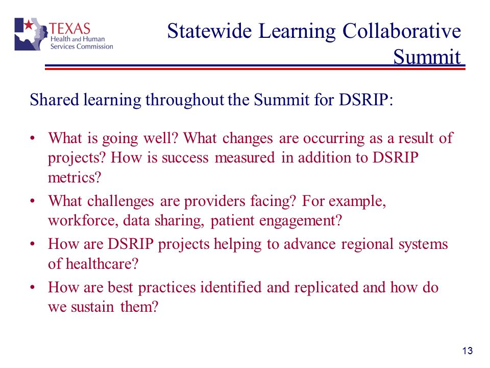 Statewide Learning Collaborative Summit Shared learning throughout the Summit for DSRIP: What is going well.