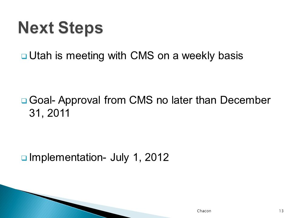  Utah is meeting with CMS on a weekly basis  Goal- Approval from CMS no later than December 31, 2011  Implementation- July 1, 2012 Chacon13
