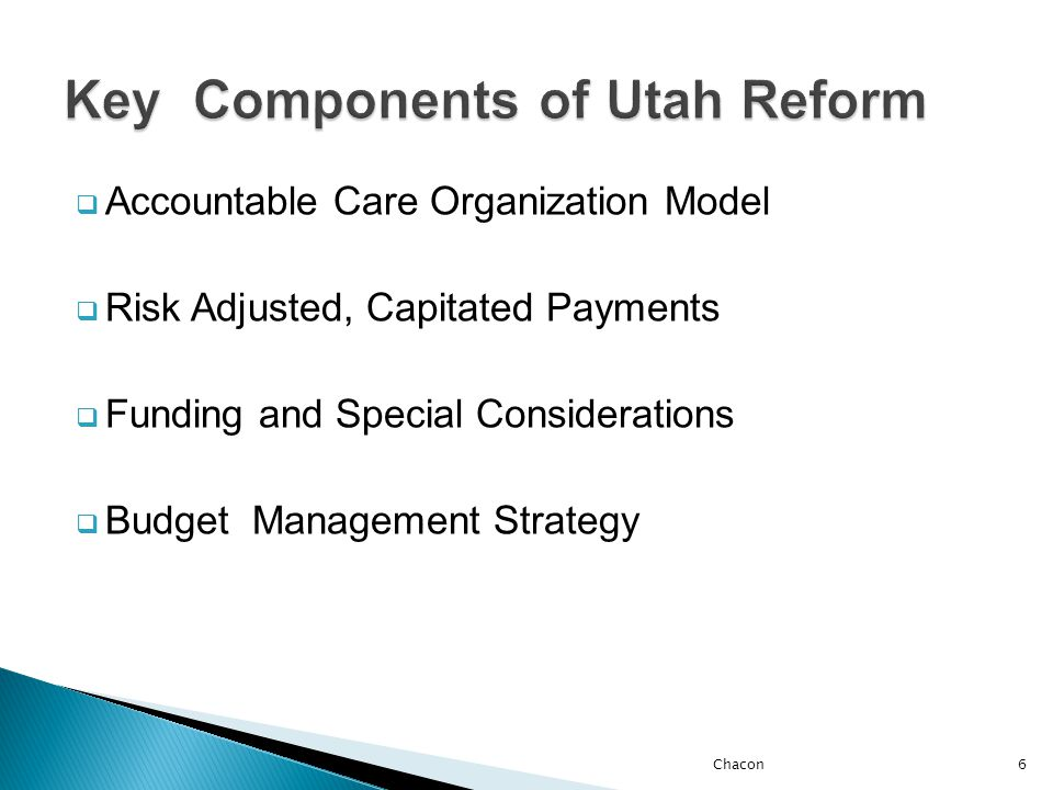  Out of Network Payment Limitations  ACO Scope of Benefits, Pharmacy  Quality of Care Standards  Individual Accountability and Responsibility 7Chacon