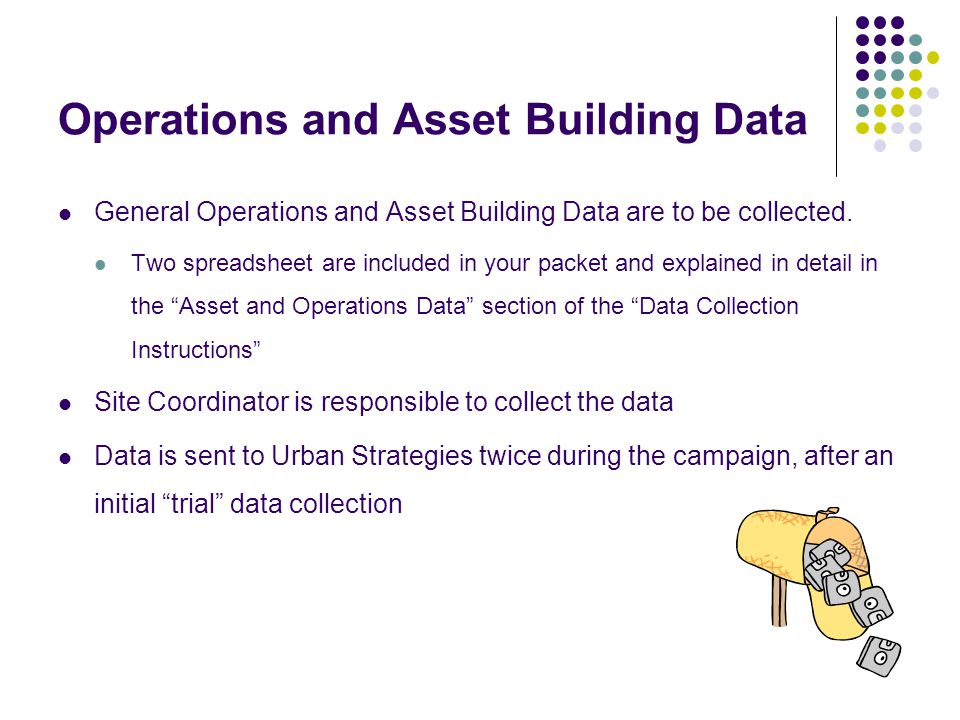 Operations and Asset Building Data General Operations and Asset Building Data are to be collected.