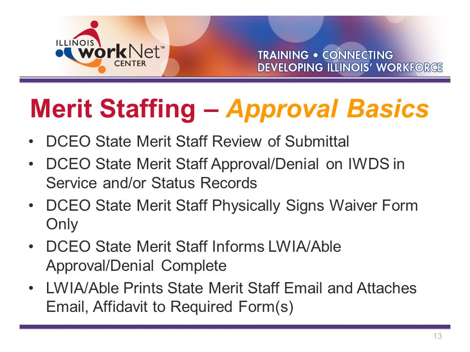 Merit Staffing – Approval Basics DCEO State Merit Staff Review of Submittal DCEO State Merit Staff Approval/Denial on IWDS in Service and/or Status Records DCEO State Merit Staff Physically Signs Waiver Form Only DCEO State Merit Staff Informs LWIA/Able Approval/Denial Complete LWIA/Able Prints State Merit Staff Email and Attaches Email, Affidavit to Required Form(s) 13