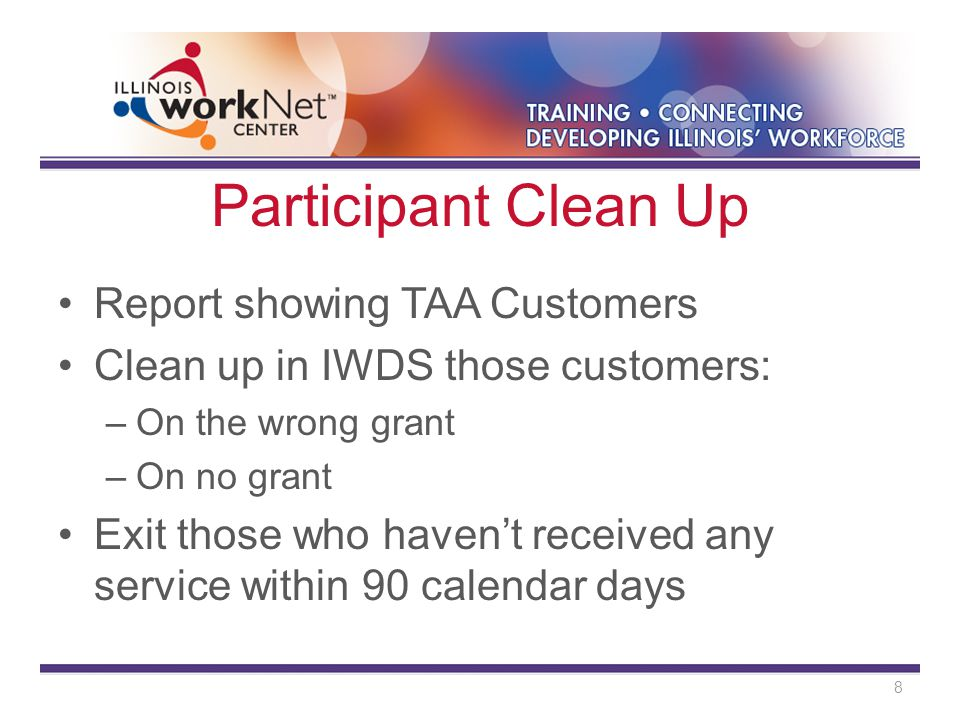 Participant Clean Up Report showing TAA Customers Clean up in IWDS those customers: –On the wrong grant –On no grant Exit those who haven't received any service within 90 calendar days 8
