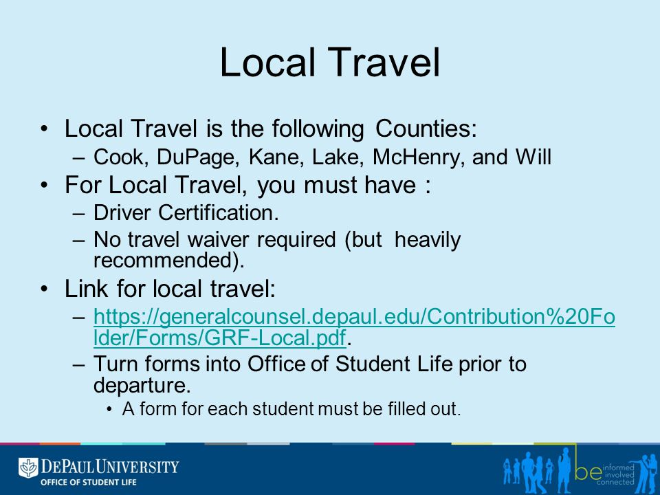Non-Local Travel Non-Local Travel is anywhere out of the six surrounding Chicago Counties.