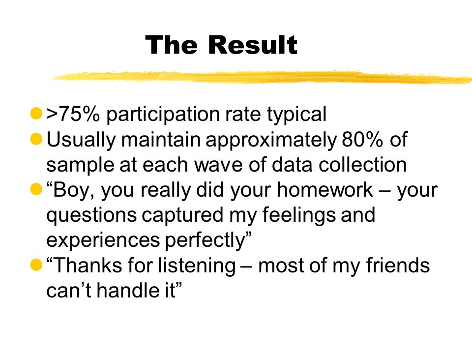The Result l>75% participation rate typical lUsually maintain approximately 80% of sample at each wave of data collection l Boy, you really did your homework – your questions captured my feelings and experiences perfectly l Thanks for listening – most of my friends can't handle it