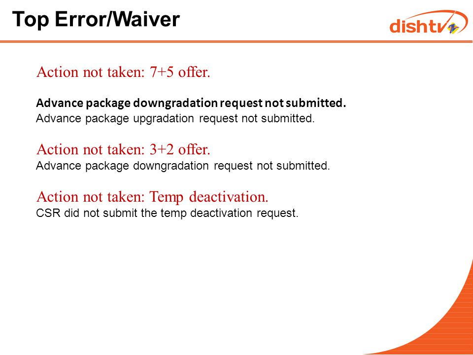 Top Error/Waiver Incomplete action: Incomplete troubleshooting.