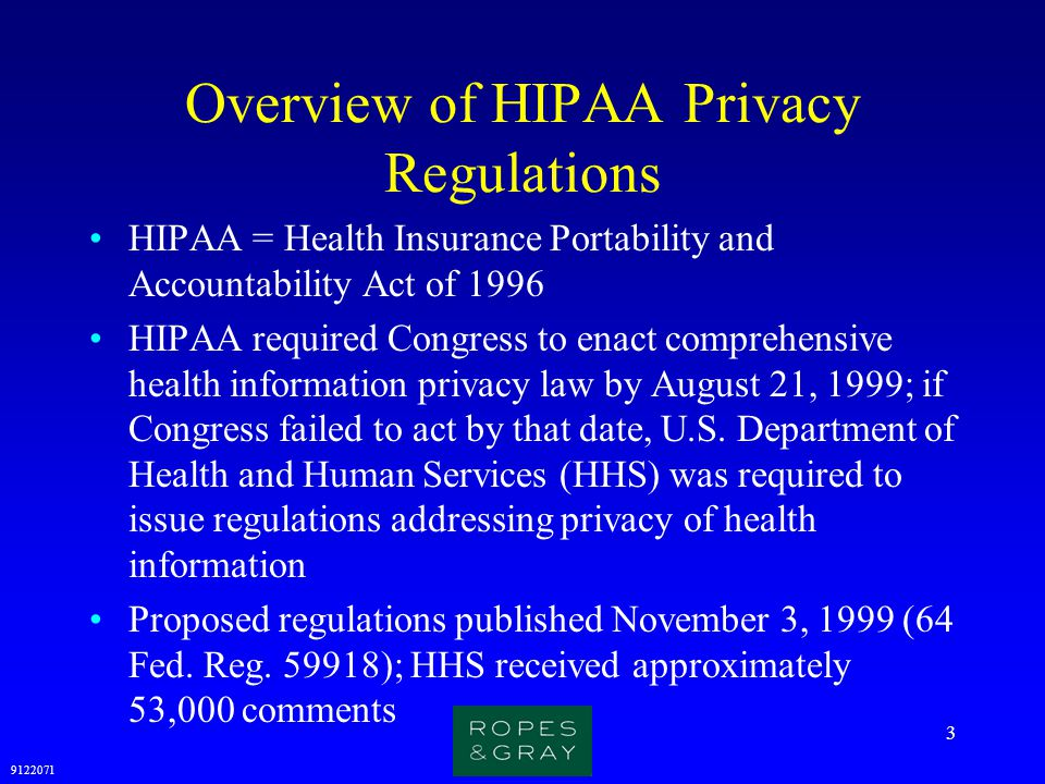 9122071 3 Overview of HIPAA Privacy Regulations HIPAA = Health Insurance Portability and Accountability Act of 1996 HIPAA required Congress to enact c
