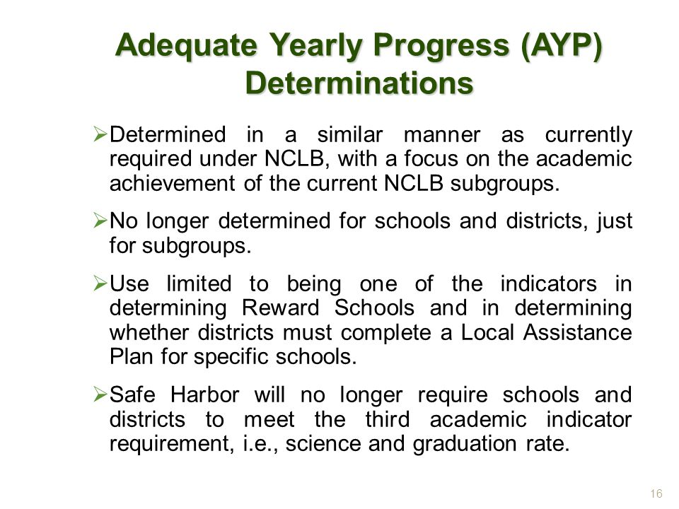 Adequate Yearly Progress (AYP) Determinations  Determined in a similar manner as currently required under NCLB, with a focus on the academic achievement of the current NCLB subgroups.