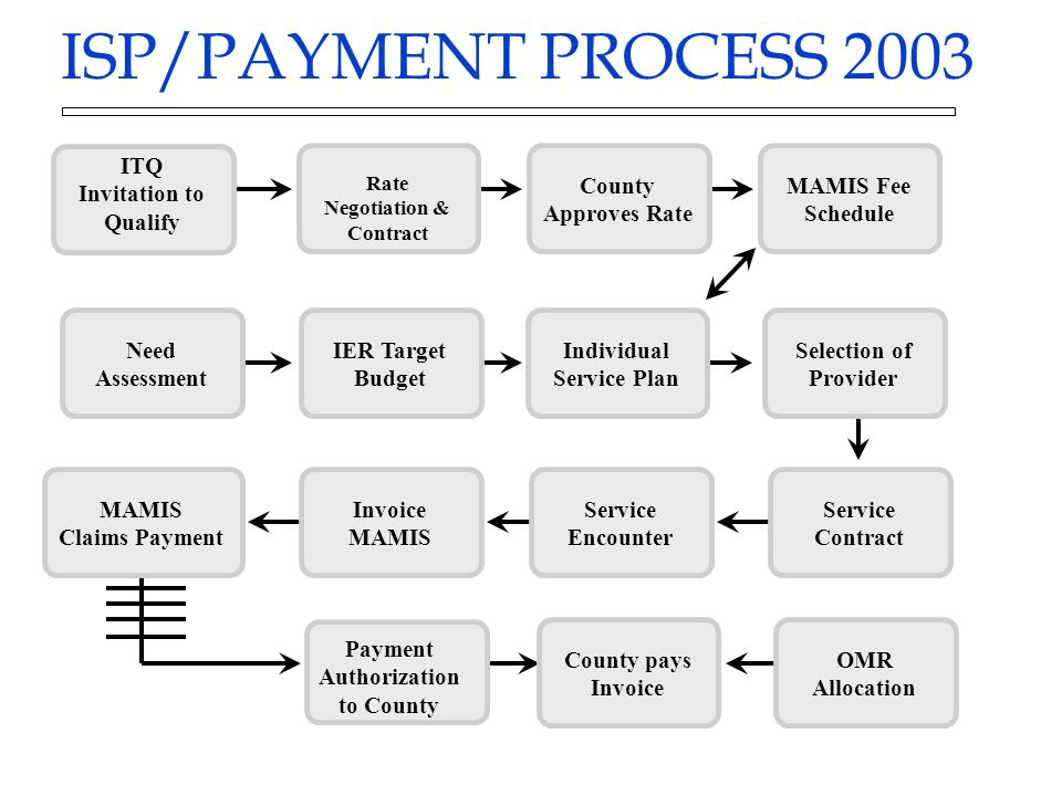 ISP/PAYMENT PROCESS 2003 Need Assessment IER Target Budget Individual Service Plan Selection of Provider MAMIS Fee Schedule Service Contract Service E