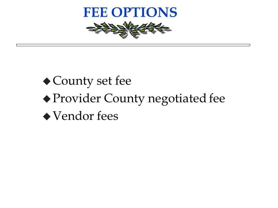 FEE OPTIONS u County set fee u Provider County negotiated fee u Vendor fees