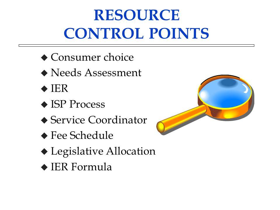 RESOURCE CONTROL POINTS u Consumer choice u Needs Assessment u IER u ISP Process u Service Coordinator u Fee Schedule u Legislative Allocation u IER F