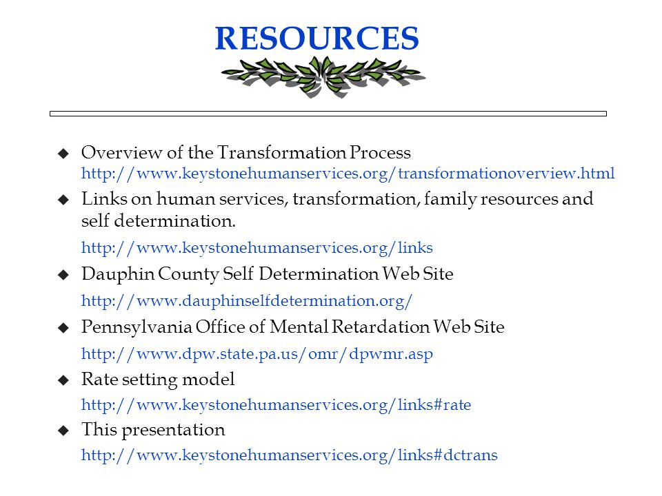 RESOURCES u Overview of the Transformation Process http://www.keystonehumanservices.org/transformationoverview.html u Links on human services, transformation, family resources and self determination.