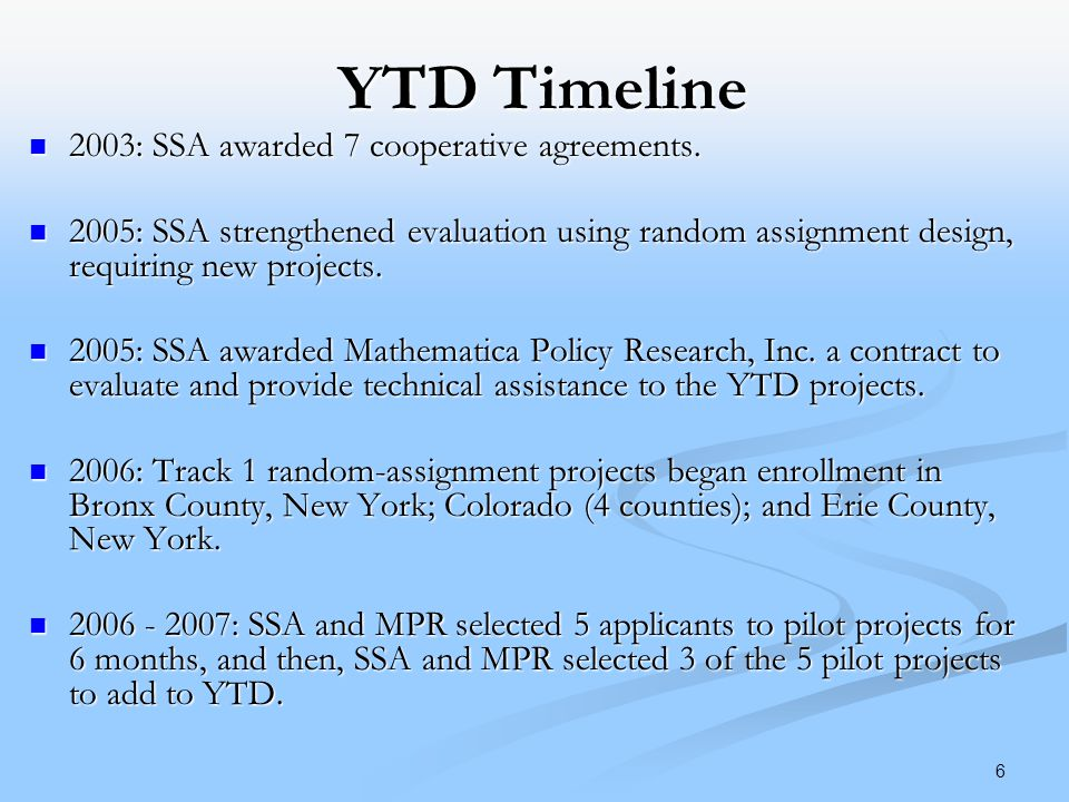 6 YTD Timeline 2003: SSA awarded 7 cooperative agreements.