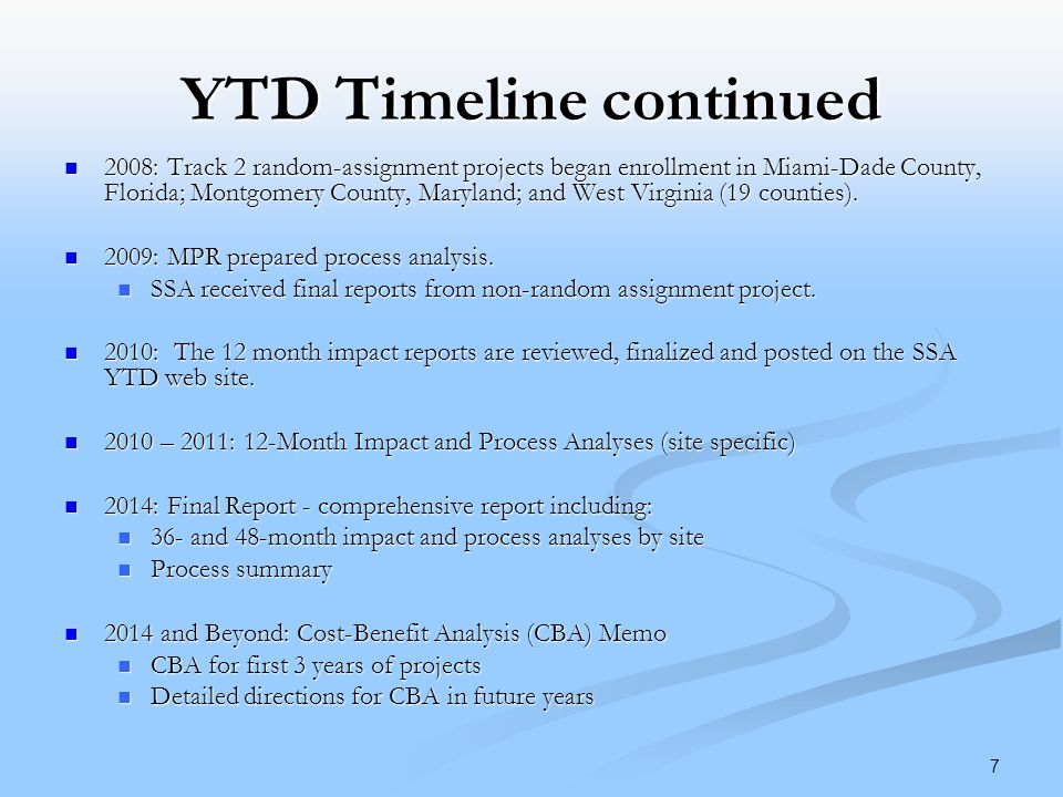YTD Timeline continued 2008: Track 2 random-assignment projects began enrollment in Miami-Dade County, Florida; Montgomery County, Maryland; and West Virginia (19 counties).
