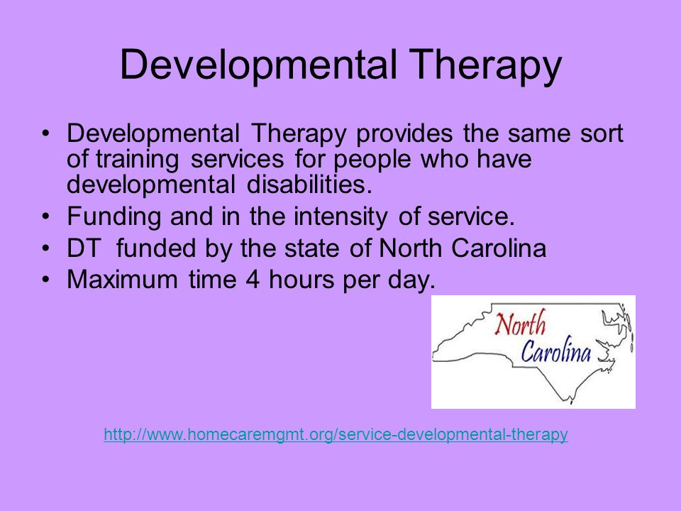 Developmental Therapy Developmental Therapy provides the same sort of training services for people who have developmental disabilities.