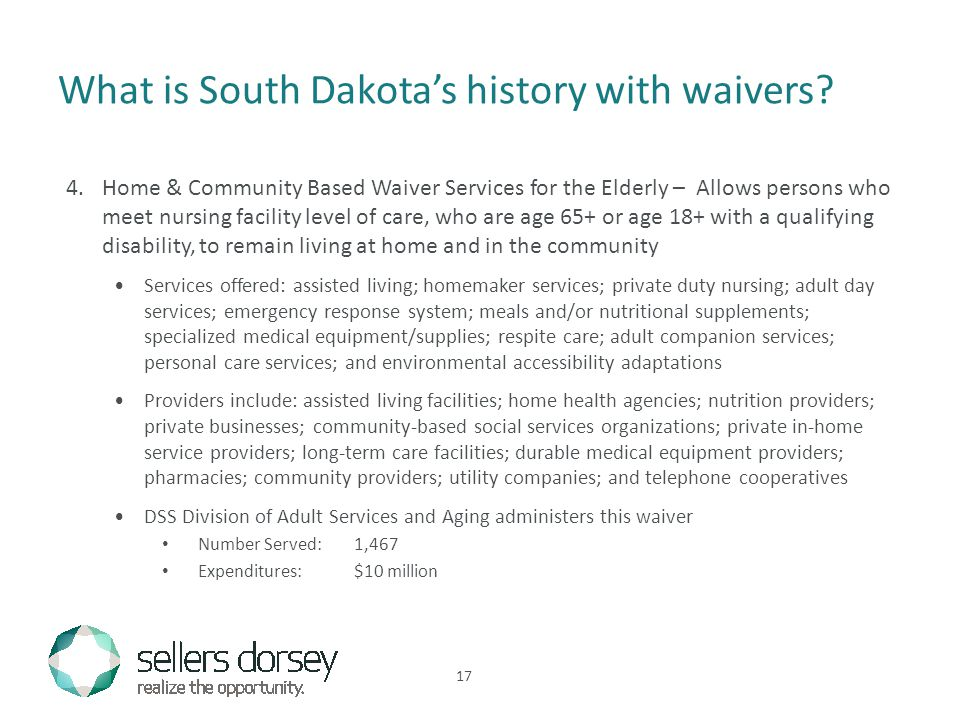 What is South Dakota's history with waivers.