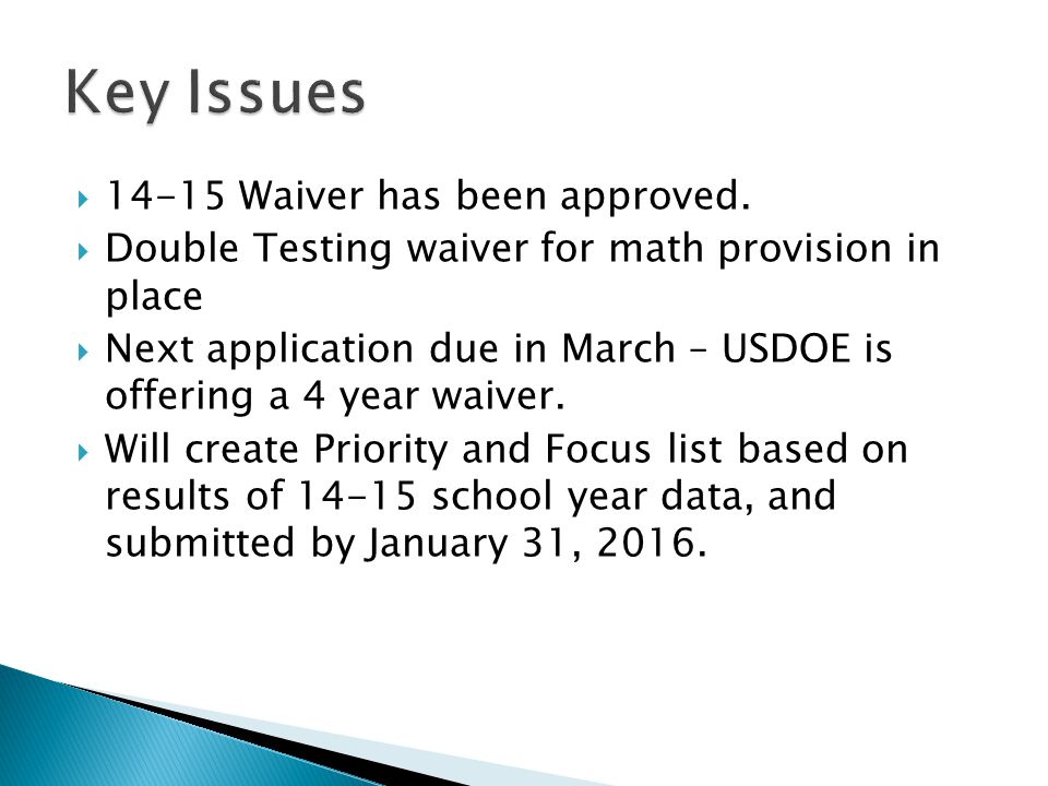  14-15 Waiver has been approved.