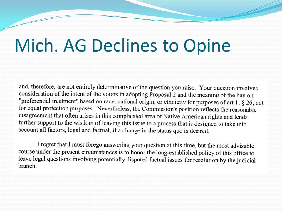Mich. AG Declines to Opine
