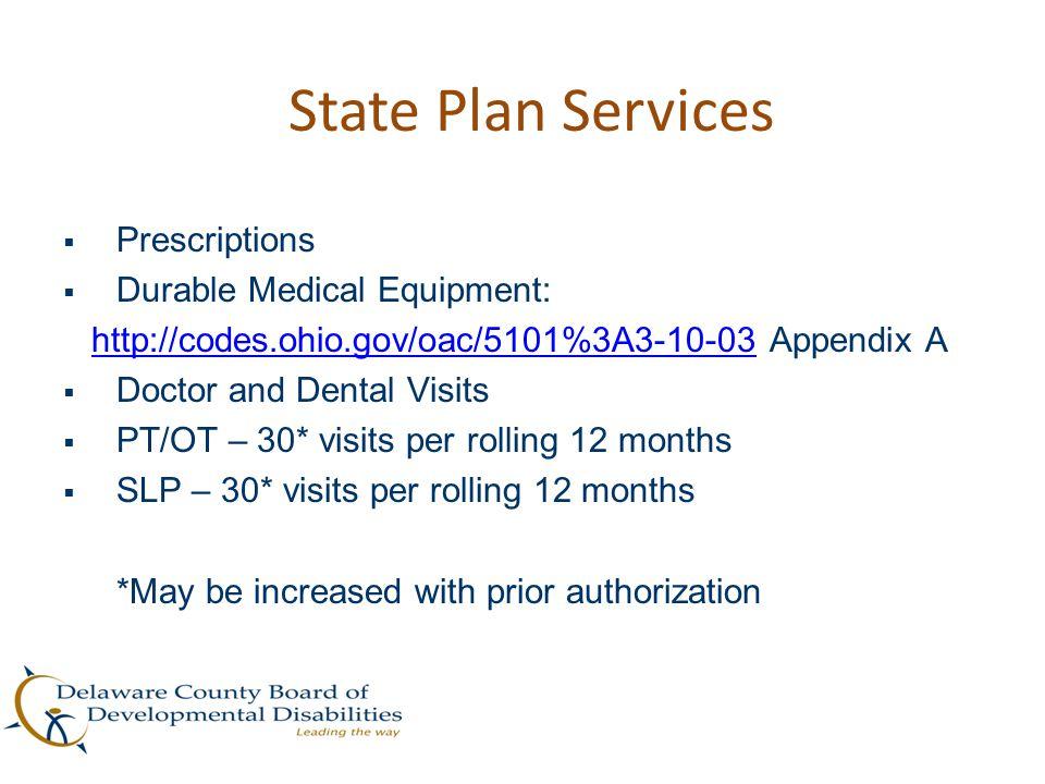 State Plan Services  Prescriptions  Durable Medical Equipment: http://codes.ohio.gov/oac/5101%3A3-10-03 Appendix Ahttp://codes.ohio.gov/oac/5101%3A3