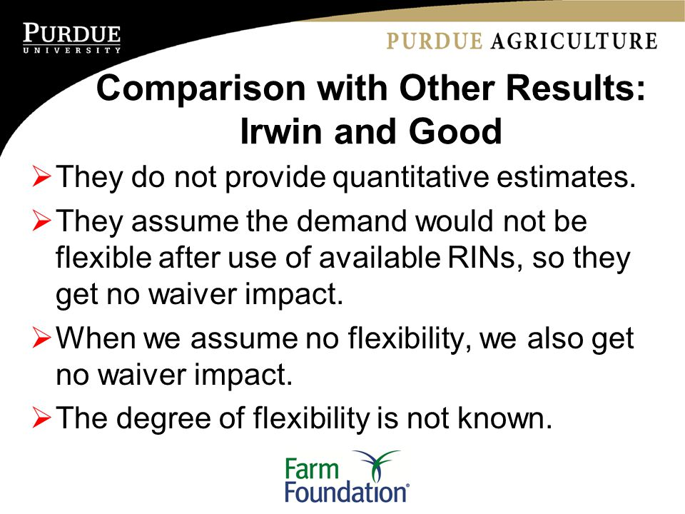 Comparison with Other Results: Irwin and Good  They do not provide quantitative estimates.  They assume the demand would not be flexible after use o