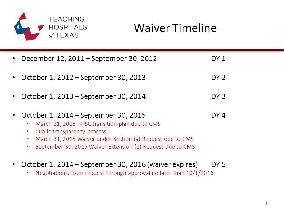 Waiver Timeline December 12, 2011 – September 30, 2012DY 1 October 1, 2012 – September 30, 2013DY 2 October 1, 2013 – September 30, 2014DY 3 October 1, 2014 – September 30, 2015DY 4 March 31, 2015 HHSC transition plan due to CMS Public transparency process March 31, 2015 Waiver under Section (a) Request due to CMS September 30, 2015 Waiver Extension (e) Request due to CMS October 1, 2014 – September 30, 2016 (waiver expires) DY 5 Negotiations: from request through approval no later than 10/1/2016 4