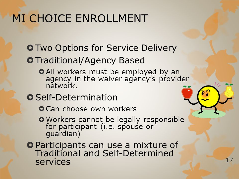 MI CHOICE ENROLLMENT  Two Options for Service Delivery  Traditional/Agency Based  All workers must be employed by an agency in the waiver agency's