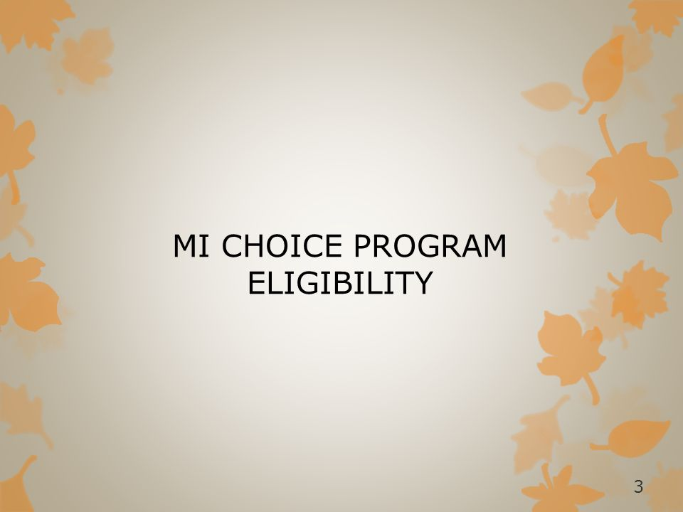 OVERVIEW OF MI CHOICE The MI Choice Waiver is designed to enable the elderly and younger disabled adults (age 18 & older) to remain at home and to participate in their communities.