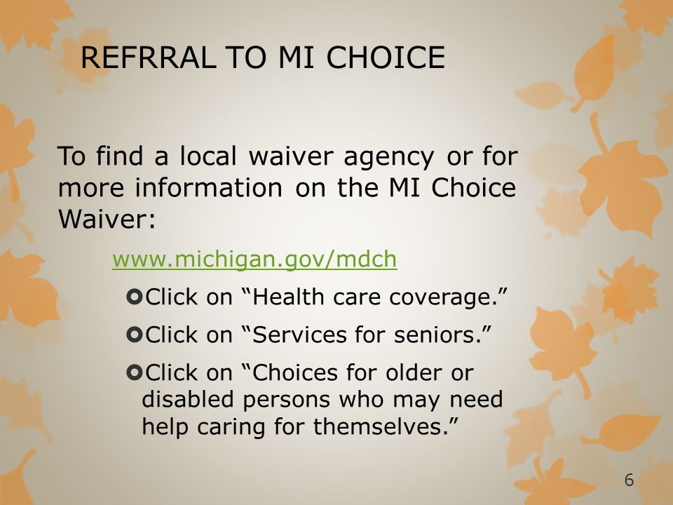 MI CHOICE ENROLLMENT  Two Options for Service Delivery  Traditional/Agency Based  All workers must be employed by an agency in the waiver agency's provider network.