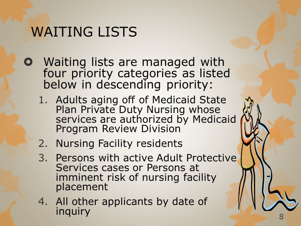 MI CHOICE ASSESSMENT  Once an applicant is at the top of the waiting list the following happens:  A supports coordination team comprised of a Registered Nurse (RN) and licensed Social Worker (SW) will meet with the applicant in their home to complete an assessment.