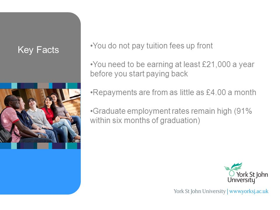 Key Facts You do not pay tuition fees up front You need to be earning at least £21,000 a year before you start paying back Repayments are from as little as £4.00 a month Graduate employment rates remain high (91% within six months of graduation)