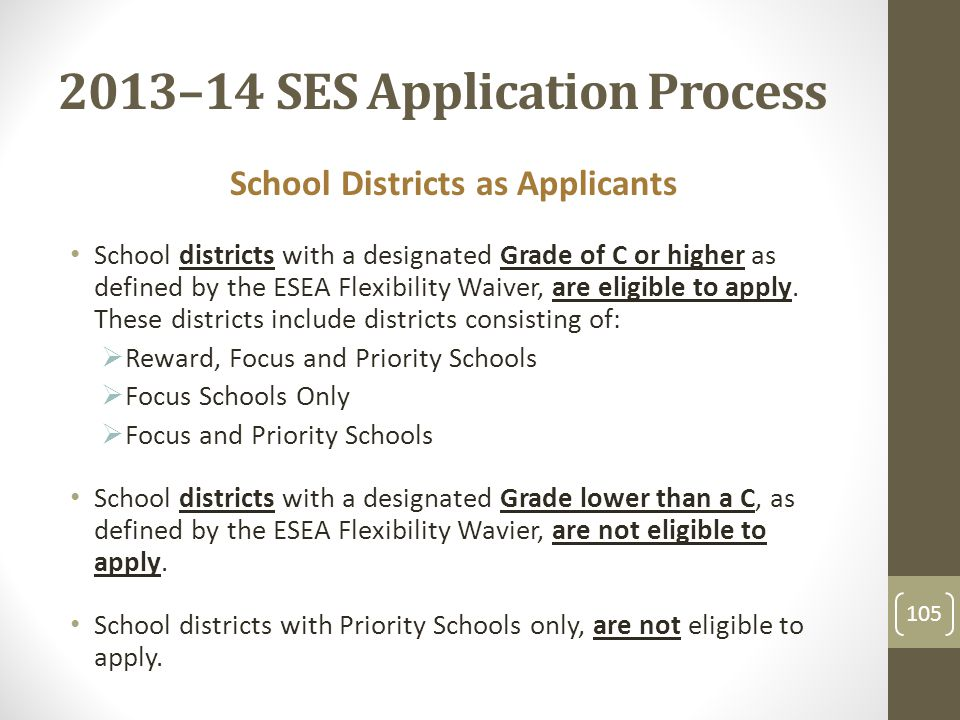 2013–14 SES Application Process School Districts as Applicants School districts with a designated Grade of C or higher as defined by the ESEA Flexibility Waiver, are eligible to apply.