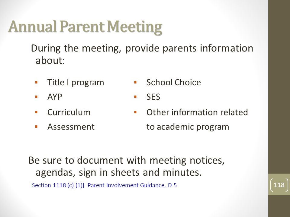 Annual Parent Meeting  Title I program  School Choice  AYP  SES  Curriculum  Other information related  Assessment to academic program During the meeting, provide parents information about: Be sure to document with meeting notices, agendas, sign in sheets and minutes.