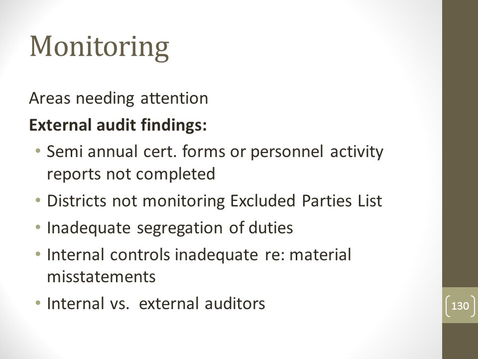 Monitoring Areas needing attention External audit findings: Semi annual cert.