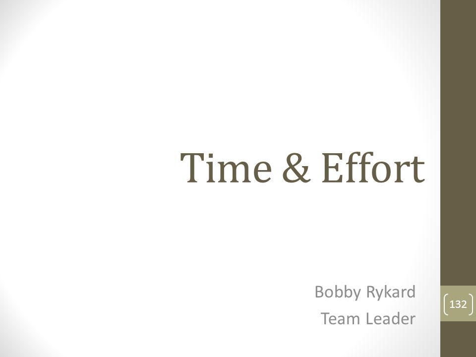 Time & Effort Bobby Rykard Team Leader 132