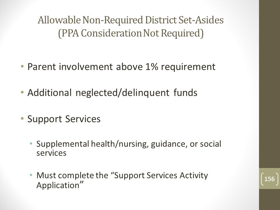 Allowable Non-Required District Set-Asides (PPA Consideration Not Required) Parent involvement above 1% requirement Additional neglected/delinquent funds Support Services Supplemental health/nursing, guidance, or social services Must complete the Support Services Activity Application 156
