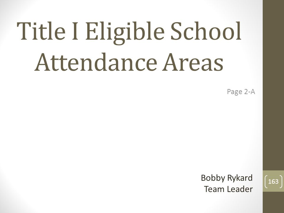 Title I Eligible School Attendance Areas Page 2-A Bobby Rykard Team Leader 163