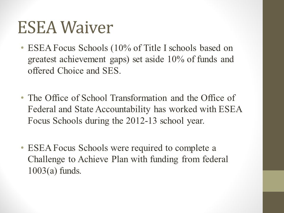 ESEA Waiver ESEA Focus Schools (10% of Title I schools based on greatest achievement gaps) set aside 10% of funds and offered Choice and SES.