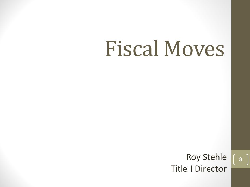 Fiscal Moves Roy Stehle Title I Director 8