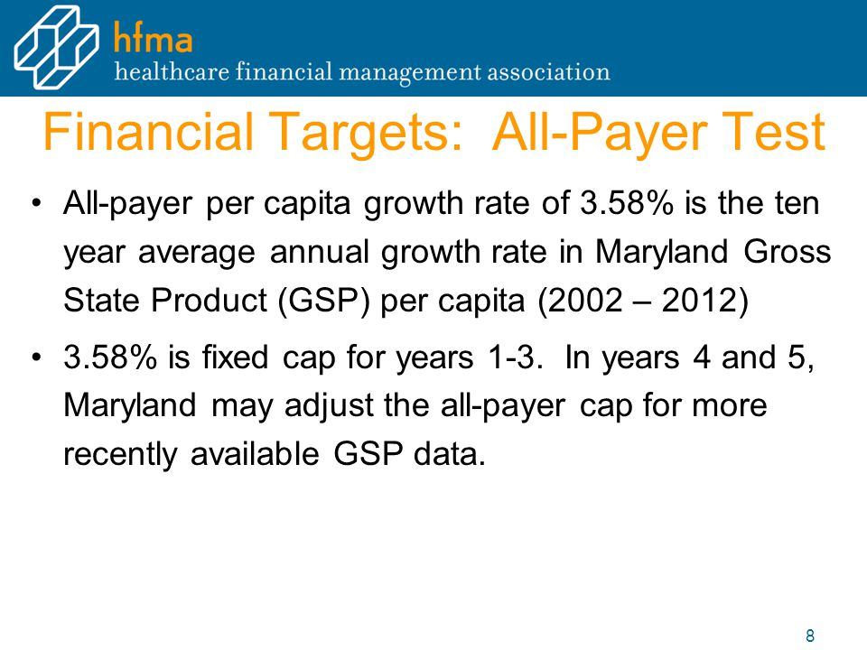 Financial Targets: All-Payer Test All-payer per capita growth rate of 3.58% is the ten year average annual growth rate in Maryland Gross State Product (GSP) per capita (2002 – 2012) 3.58% is fixed cap for years 1-3.